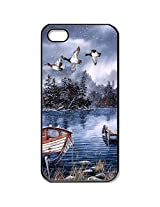 iPhone 5/5s WaterColor-Painting-Lake-And-Woods-Snow-Winter-Dock-Ducks-Boat Case for iPhone 5 iPhone 5s with Black Side