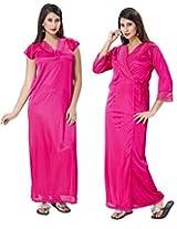 KuuKee Women's Satin Tomato Colored Nightwear (10038_Tomato_L)