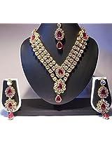 Dark Pink stone three line necklace set
