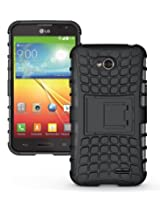 [Diablo] JKase LG L70 Case Protective [Ultra Fit] Tough Rugged Dual Layer Protection Case Cover with Build in Stand for LG L70 - Retail Packaging (Black)