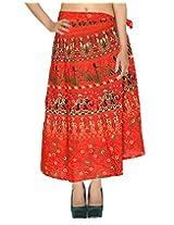 Rajrang Indian Long Wrap Around Art Silk Skirt Printed Work