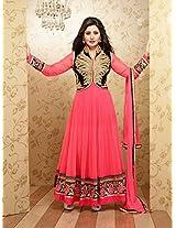 Rimi Sen Semi Stitched Pink Anarkali Suit