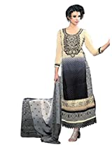 Vibes Women Gorgette Salwar Suit Dress Material (V170-1407 -Red -Free Size)