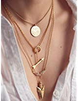 Gold 4 Layers Angel Wing Arrows Triangle Pendant Charm Necklace By ITS