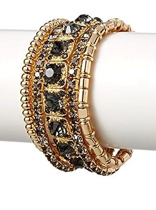Stella & Ruby Set of 5 Black Diamond Crystal Stretch Bracelets