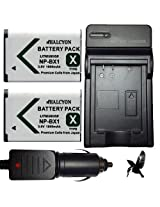 Two Halcyon 1800 mAH Lithium Ion Replacement Battery and Charger Kit for Sony HDR-AS100V POV Action Cam and Sony NP-BX1