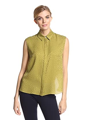 Jason Wu Women's Spotted Silk Jacquard Fly Back Top (Palm)