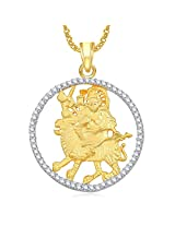 Durga God Pendant For Men And Women With Chain Lockets Gold Plated In American Diamond Cz GP343
