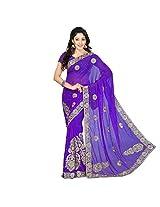 Chandra Silk Mills Lavender Heavy Embroidary Wedding Saree
