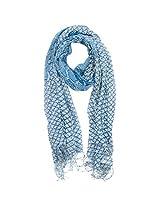 FUGEN Women's Wool Scarf (FF-2052, Blue)