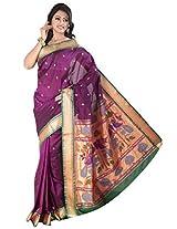 ISHIN Art Silk Magenta Kanjivaram Saree