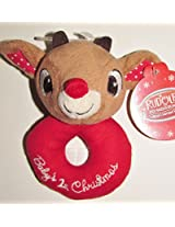 Babys First Christmas Ring Rattle - Rudolph