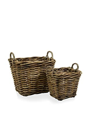 Set of 2 Square Capuchin Oversized Rattan Baskets