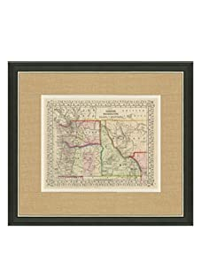 """Mitchell-Antique Map of OR, WA, ID & MT, 1860's-1870's, 21"""" x 23"""""""