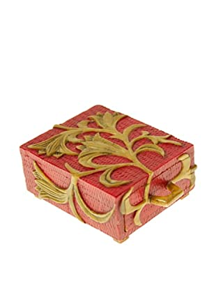 The Niger Bend Small Single-Drawer Soapstone Box with Orchid Design, Red