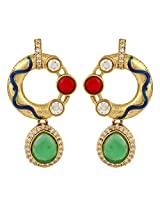 Dilan Jewels KNOWLEDGE Collection Multicoloured Gold Plated Round Earrings For Women