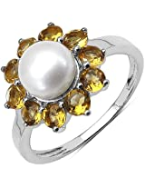 2.59CTW Genuine Citrine & Pearl .925 Sterling Silver Floral Shape Ring