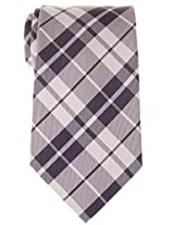 "Retreez Preppy Plaid Check Woven Microfiber 3.15"" Men's Tie - Grey"