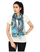 Anekaant Purple Printed Cotton Women's Scarf