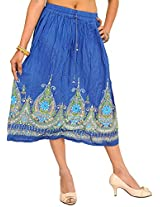 Exotic India Midi-Skirt with Printed Flowers Embellished with Sequins - Color Dark BlueGarment Size Free Size