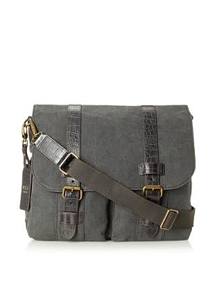 Bosca Men's Field Two-Pocket Mail Bag (Gray/Dark Brown)
