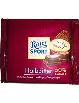 Ritter Sport Bars, Dark Chocolate with Halbbitter , 100 Grams