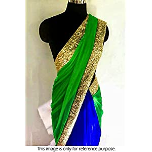 Blue & Green Colored Georgette and Chiffon Net Saree - Bollywood Style Replica by Ninecolours - NC769 Model Number