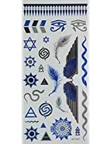Spestyle Temporary Jewelry Tattoos Blue And Silver And Black Metallic Jewelry Tattoos Jewelry, Sun Totoem, Feather, Snake, Wings And Eyes
