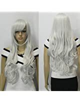 IMAGE 33 inch Silver White Heat Resistant Curly Wavy Long Cosplay Wigs