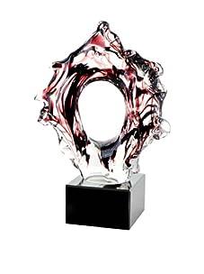 Viz Art Glass Aura Abstract Sculpture on Base