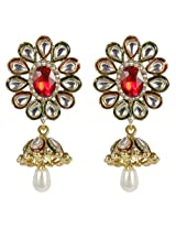 Beautiful Maroon-Green Combination Floral Design Kundan Made Fashion Earring For Women Jewelry
