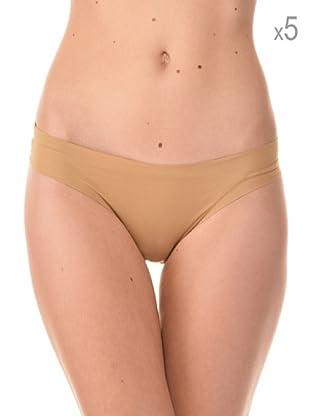 Anyma by Cotonella Pack 5 Braguitas Brasileñas Sin Costuras (Beige)