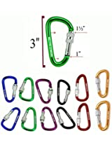 3 Inch Aluminum D Shaped Colored Carabiner with Locking Screw & Key Ring-Set of 12/ Used for Fishing, Traveling, Camping Hook, Hiking, Key Ring Holder, ...etc (not for climbing)