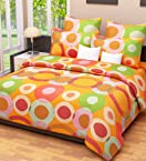 Home Candy Elegant Circles Cotton Double Bedsheet with 2 Pillow Covers - Orange (CTN-BST-264)