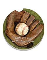CounterArt Absorbent Stoneware Car Coaster, Ball Game