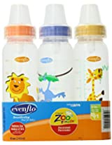 Evenflo Zoo Friends 3 Count Standard Nipple Bottle 8 Ounce (Colors may vary)