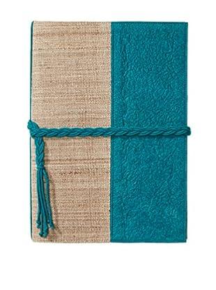 Marina Vaptzarov Medium Vegetal Leather & Nettle Fabric Sketchbook, Teal