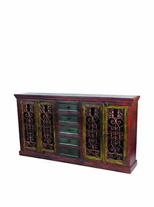 MOTI Historic Tall 4-Carved Door & 5-Drawer Buffet