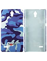 Heartly Army Style Retro Color Armor Hybrid Hard Bumper Back Case Cover For Huawei Ascend G700 - Navy Blue