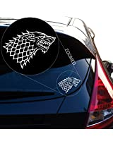 "Starks Banner From the Game of Throne Decal Sticker for Car Window, Laptop, Motorcycle, Walls, Mirror and More. # 522 (4"" x 5.4"", White)"