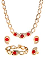 Red crystals stylish Jewellery Set with Ring