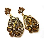 Mehndi finish stoned earrings from Violetsz
