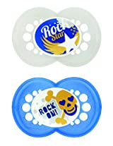 MAM Rock N' Roll Orthodontic Pacifier, Boy, 6+ Months, 2-Count