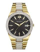 Bulova Crystal Analog Black Dial Men's Watch - 98B235