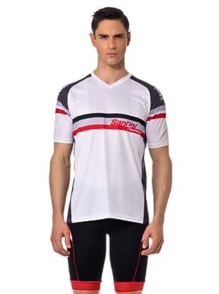 Santini Camiseta Manga Corta V (Blanco/Rojo/Negro)