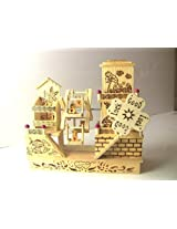 Wooden Cute Teddy Toy House For Kids Or Home Decor
