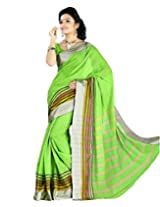 Paaneri Lime Green Color with Silver Border Blended Cotton Saree_15103501005