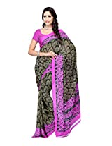 Ambaji Black & Pink Coloured Renial Printed Saree
