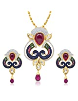 VK Jewels Delightful Kundan Beaded Mayur Pendant Set With Earrings-PS1067G [VKPS1067G]