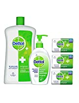 Dettol Sanitizer - 200 ml with Dettol Liquid Soap Jar Original - 900 ml and Dettol Soap Value Pack Original - 125 g (Pack of 3)
